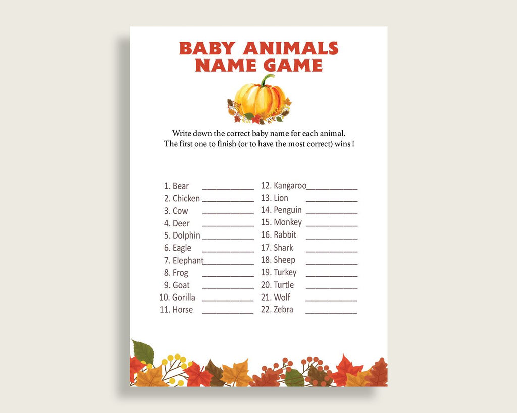 Baby Animal Names Baby Shower Baby Animal Names Fall Baby Shower Baby Animal Names Baby Shower Pumpkin Baby Animal Names Orange Brown BPK3D - Digital Product
