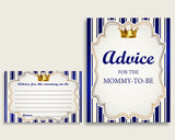 Royal Prince Advice For Mommy To Be Cards & Sign, Printable Baby Shower Blue Gold Advice For New Parents, Instant Download, Royal Blue rp001