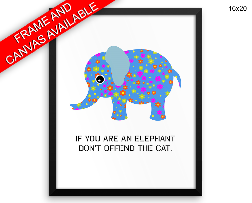 Elephant Floral Print, Beautiful Wall Art with Frame and Canvas options available Nursery Decor