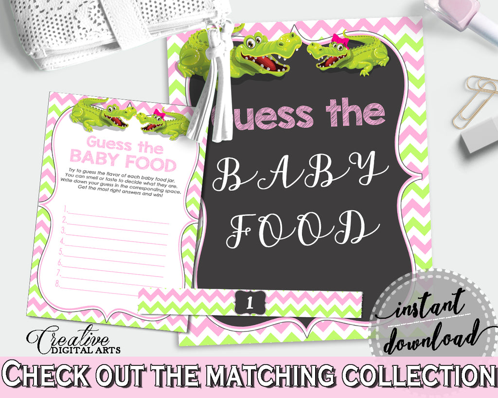 GUESS THE BABY FOOD game for baby shower with green alligator and pink color theme, instant download - ap001