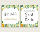 Tropical Baby Shower Gender Neutral Table Signs Printable, Green Yellow Party Table Decor, Favors, Food, Drink, Treat, Guest Book 4N0VK