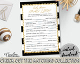 MAD LIBS baby shower game with black white stripes theme printable, gold glitter digital Jpg Pdf, instant download - bs001
