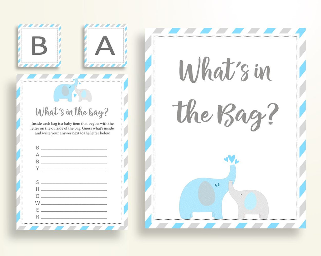 What's In The Bag Baby Shower What's In The Bag Elephant Baby Shower What's In The Bag Blue Gray Baby Shower Elephant What's In The C0U64 - Digital Product