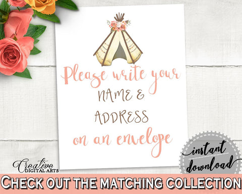Addressing Sign Bridal Shower Addressing Sign Tribal Bridal Shower Addressing Sign Bridal Shower Tribal Addressing Sign Pink Brown 9ENSG - Digital Product
