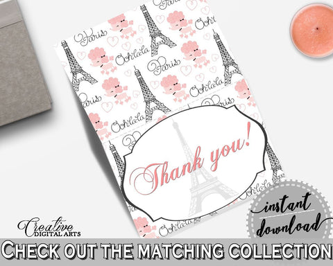 Paris Bridal Shower Thank You Card in Pink And Gray, thank you notes, gray eiffel tower, party stuff, party decorations, party decor - NJAL9 - Digital Product
