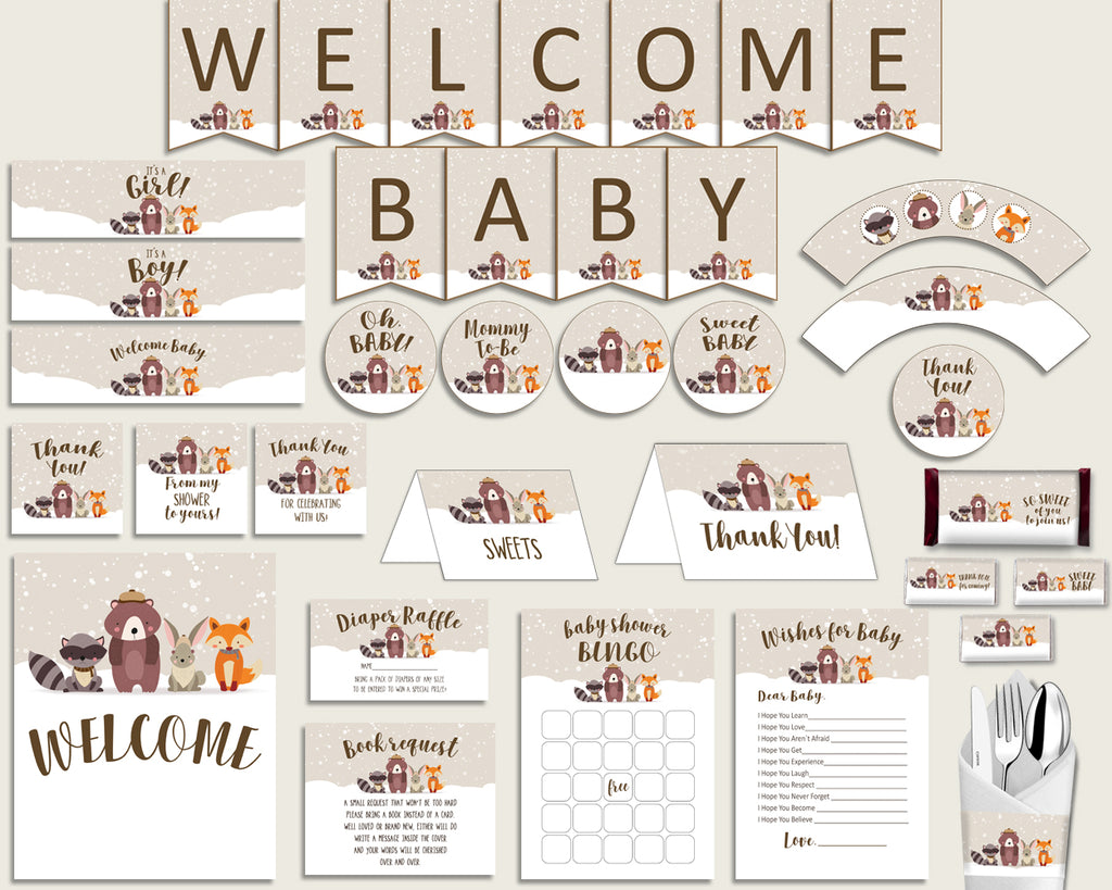 Beige Brown Baby Shower Decorations Gender Neutral Kit, Winter Woodland Baby Shower Party Package Printable, Instant Download, RM4SN