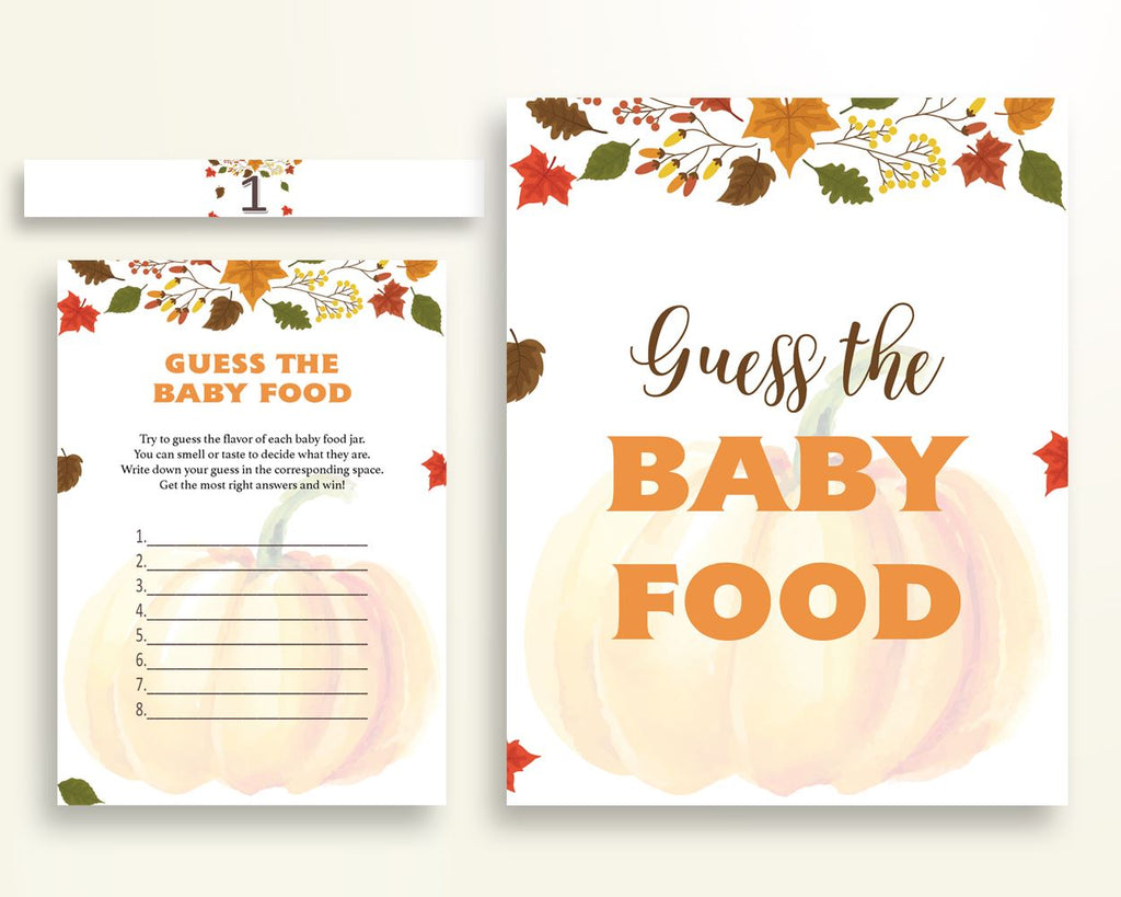 Baby Food Guessing Baby Shower Baby Food Guessing Autumn Baby Shower Baby Food Guessing Baby Shower Pumpkin Baby Food Guessing Orange OALDE - Digital Product