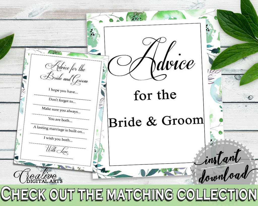 Advice Bridal Shower Advice Botanic Watercolor Bridal Shower Advice Bridal Shower Botanic Watercolor Advice Green White party plan 1LIZN - Digital Product