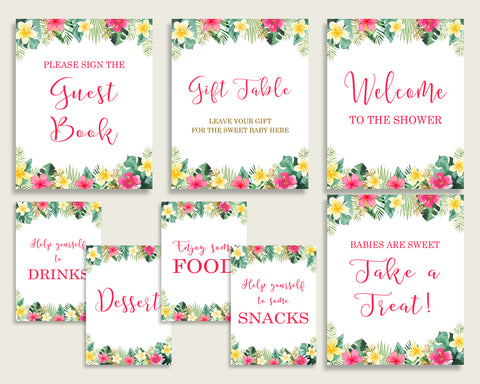 Hawaiian Baby Shower Girl Table Signs Printable Pink Green Party