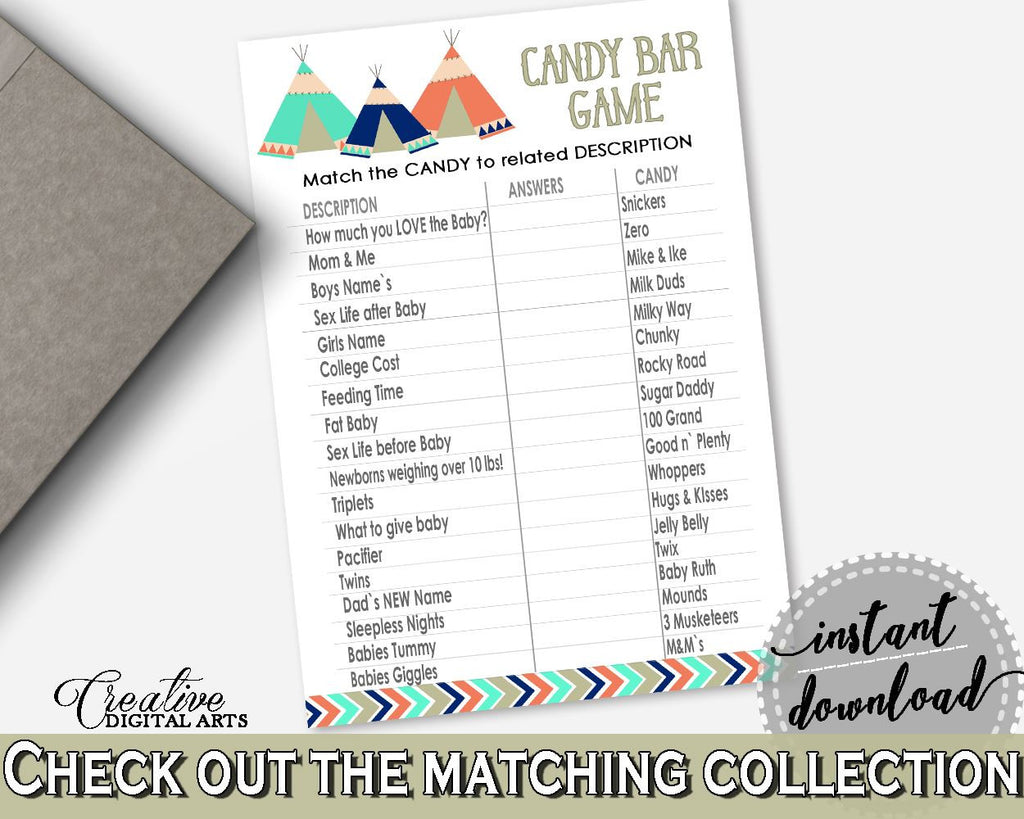 Candy Bar Game Baby Shower Candy Bar Game Tribal Teepee Baby Shower Candy Bar Game Baby Shower Tribal Teepee Candy Bar Game Green KS6AW - Digital Product