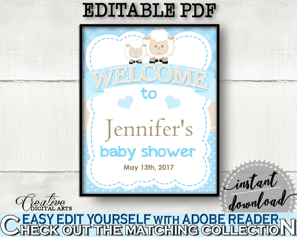 Baby Shower Blue Lamb WELCOME sign editable, sheep boy shower blue theme printable, digital files, instant download - fa001