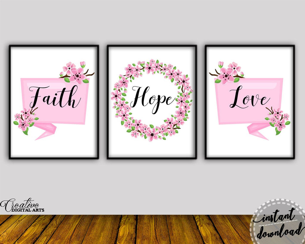 Wall Art Faith Hope Love Digital Print Faith Hope Love Poster Art Faith Hope Love Wall Art Print Faith Hope Love Living Room Art Faith Hope - Digital Download