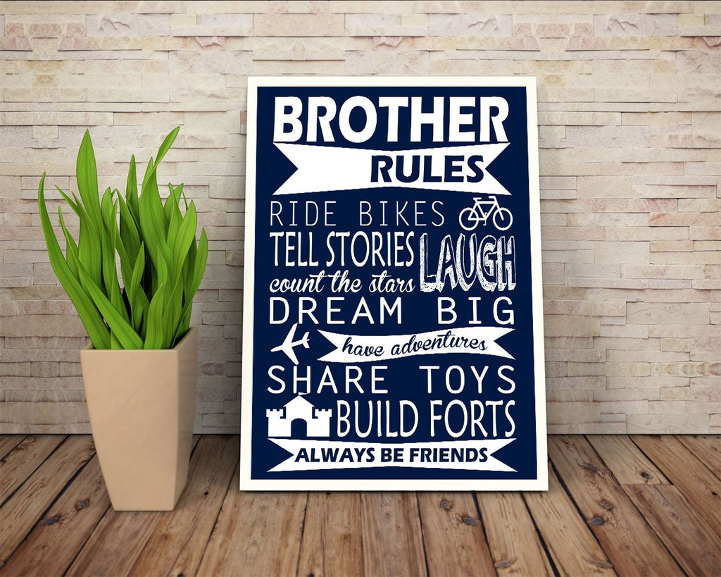 Wall Art Brother Rules Digital Print Brother Rules Poster Art Brother Rules Wall Art Print Brother Rules Kids Art Brother Rules Kids Print - Digital Download