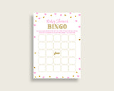 Bingo Baby Shower Bingo Hearts Baby Shower Bingo Baby Shower Hearts Bingo Pink Gold party planning party organization pdf jpg bsh01