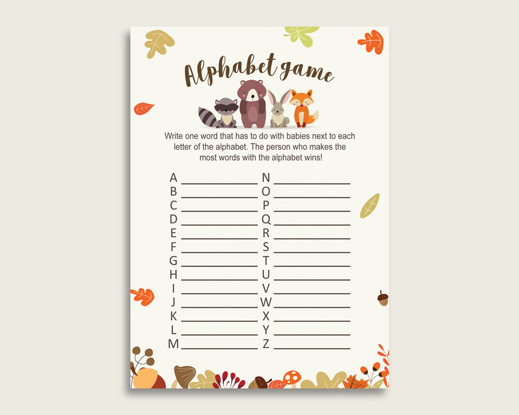 Brown Beige Alphabet Baby Shower Gender Neutral Game, Woodland A-Z Guessing Baby Game Printable, ABC's Baby Item Name Game, Instant w0001