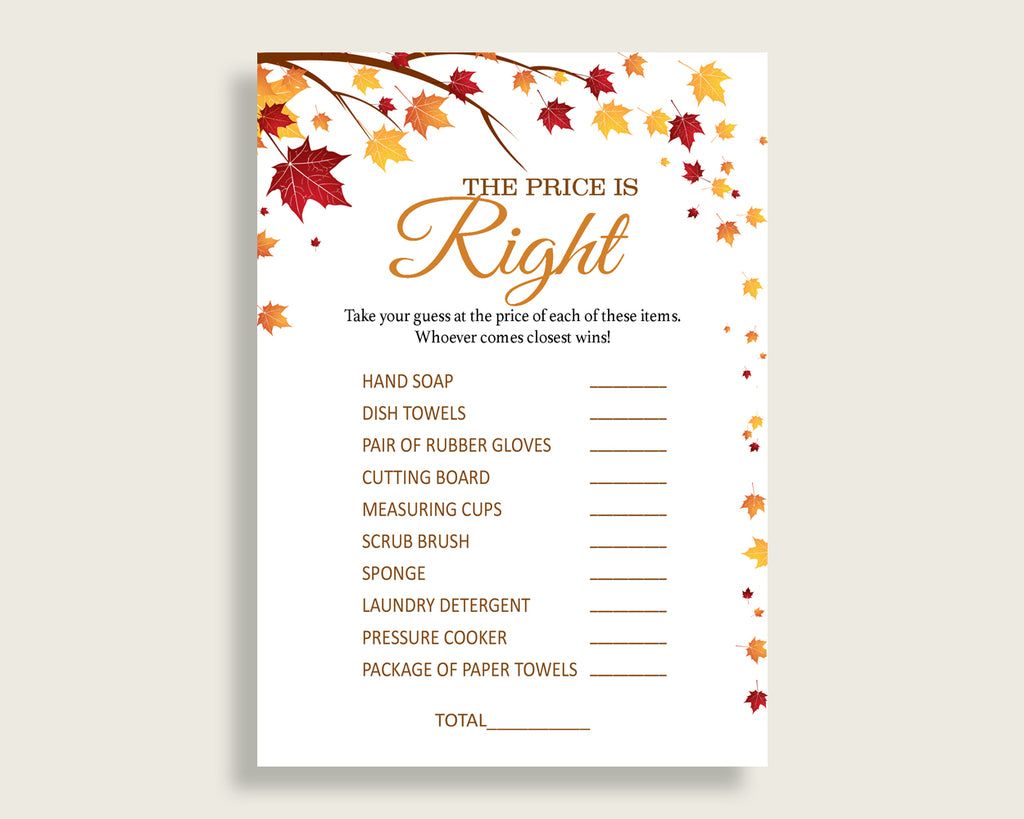 Price Is Right Bridal Shower Price Is Right Fall Bridal Shower Price Is Right Bridal Shower Autumn Price Is Right Brown Yellow YCZ2S