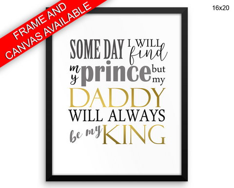 Daddy Print, Beautiful Wall Art with Frame and Canvas options available Father Decor
