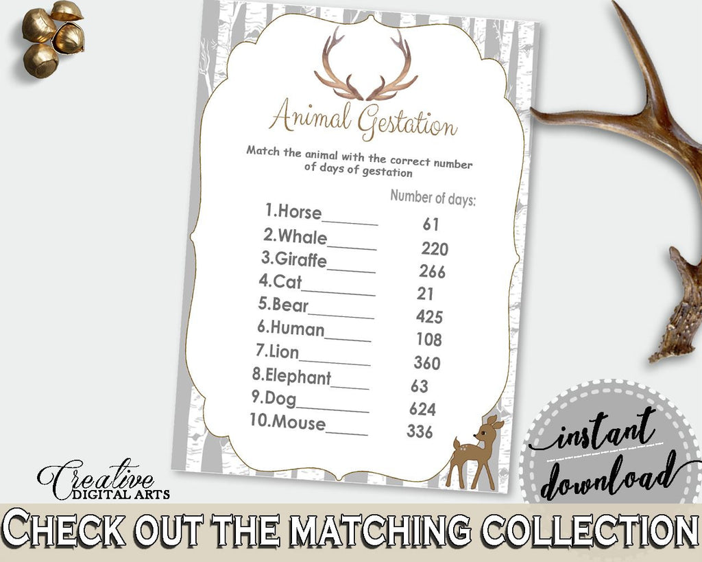 Animal Gestation Baby Shower Animal Gestation Deer Baby Shower Animal Gestation Baby Shower Deer Animal Gestation Gray Brown prints Z20R3 - Digital Product