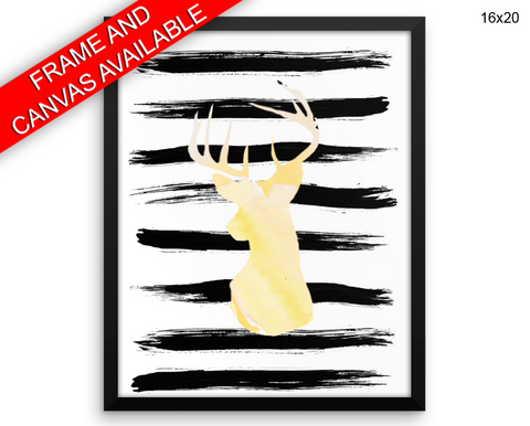 Deer Watercolor Print, Beautiful Wall Art with Frame and Canvas options available Living Room Decor