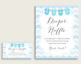 "Chevron Baby Shower Diaper Raffle Tickets Game, Boy Blue White Diaper Raffle Card Insert and Sign Printable, Instant Download, 3.5x2"", cbl01"