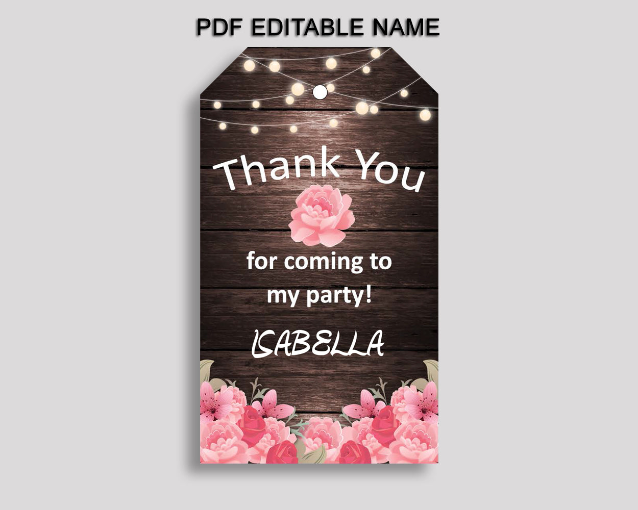 Rustic Favor Tags Pink Brown Party Tags Rustic Birthday Tags Rustic Thank You Tags Girl OE0W8