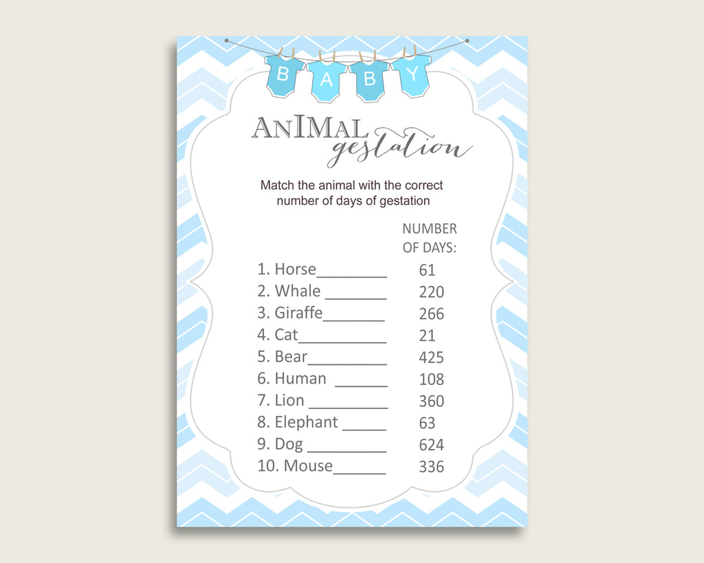 Chevron Animal Pregnancy Gestation Game, Blue White Baby Shower Boy Printable Activities, Instant Download, Popular Light Blue cbl01