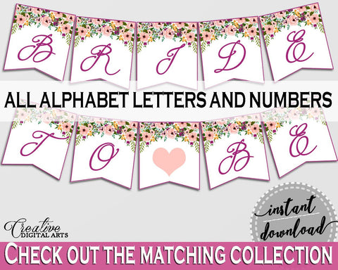 Watercolor Flowers Bridal Shower Banner in White And Pink, decoration symbols, watercolor shower, printables, pdf jpg, prints - 9GOY4 - Digital Product