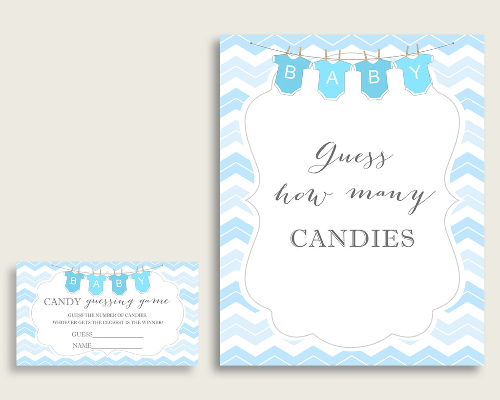 Blue White Candy Guessing Game, Chevron Baby Shower Boy Sign And Cards, Guess How Many Candies, Candy Jar Game, Jelly Beans, Instant cbl01