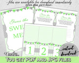 Baby shower boy GUESS the SWEET MESS game cards tents and sign with chevron green theme, Jpg Pdf, instant download - cgr01