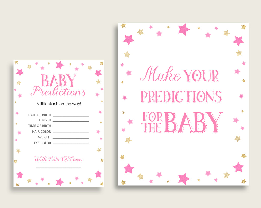 Twinkle Star Baby Shower Prediction Cards & Sign Printable, Pink Gold Baby Prediction Game Girl, Instant Download, Most Popular bsg01