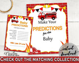 Baby Predictions Baby Shower Baby Predictions Fireman Baby Shower Baby Predictions Red Yellow Baby Shower Fireman Baby Predictions LUWX6 - Digital Product
