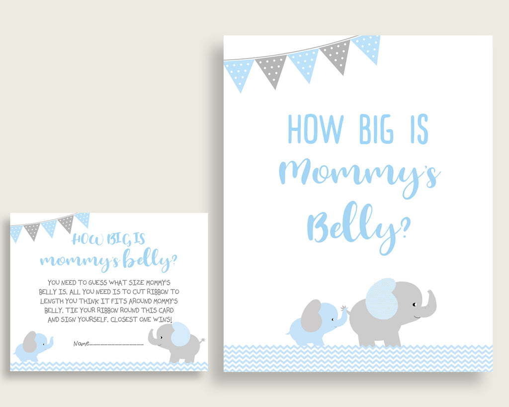 Blue Grey How Big Is Mommy S Belly Game Elephant Baby Shower Boy Gue Studio 118