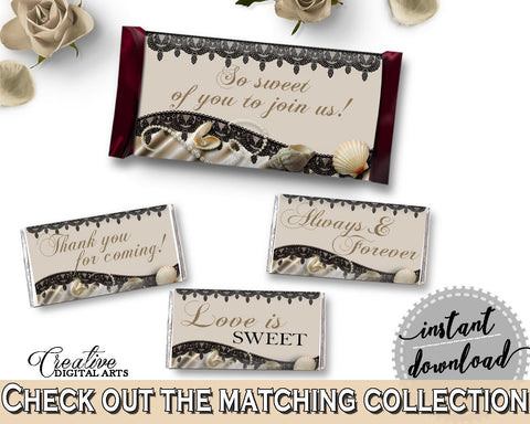 Hershey Mini And Standard Wrappers in Seashells And Pearls Bridal Shower Brown And Beige Theme, decoration wraps, shower activity - 65924 - Digital Product