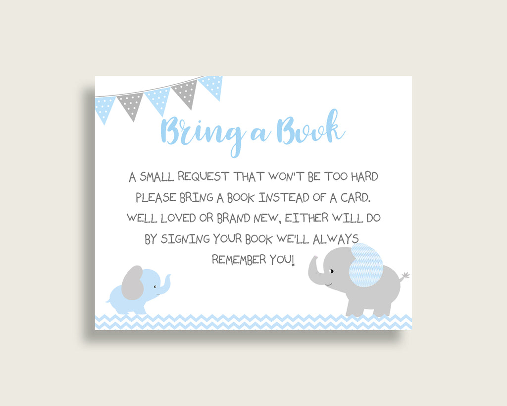 Elephant Baby Shower Bring A Book Insert Printable, Boy Blue Grey Book Request, Elephant Books For Baby, Book Instead Of Card, ebl02