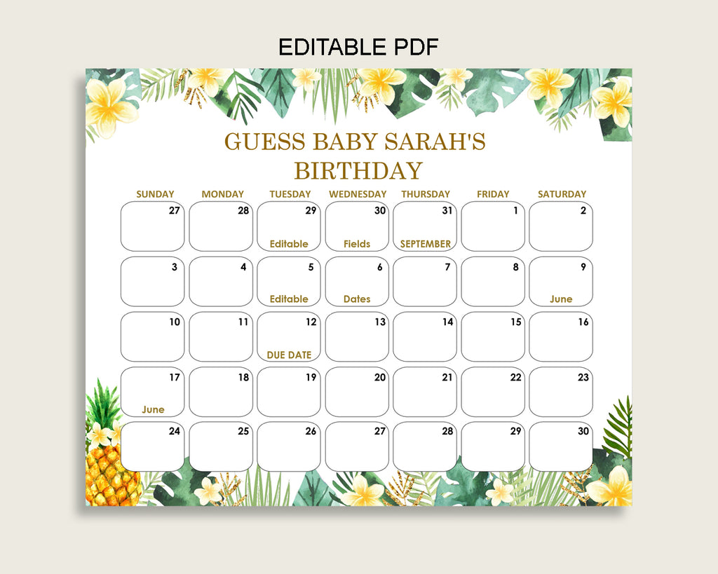 Green Yellow Guess Baby Due Date Calendar Game Printable, Tropical Baby Shower Gender Neutral Birthday Prediction Calendar Editable 4N0VK