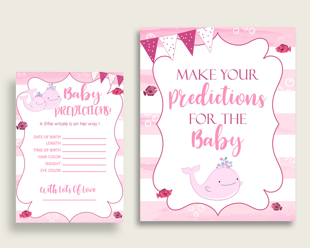 Pink Whale Baby Shower Prediction Cards & Sign Printable, Pink White Baby Prediction Game Girl, Instant Download, Sea Animals Popular wbl02