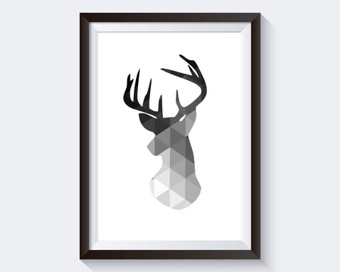 Deer Prints Wall Art Deer Digital Download Deer Geometric Art Deer Geometric Print Deer Instant Download Deer Frame And Canvas Available - Digital Download