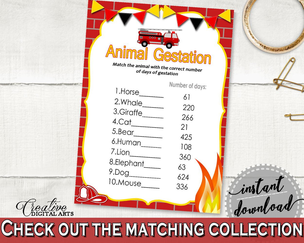 Animal Gestation Baby Shower Animal Gestation Fireman Baby Shower Animal Gestation Red Yellow Baby Shower Fireman Animal Gestation LUWX6 - Digital Product