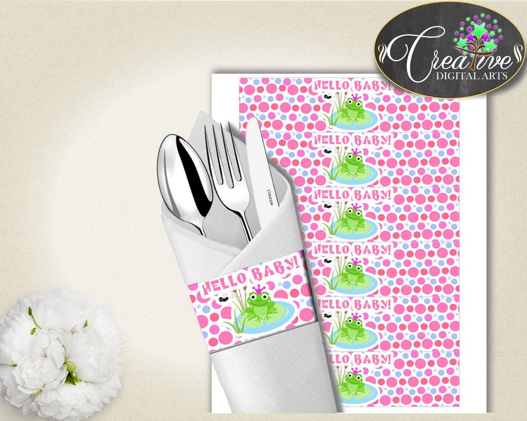 Baby Prince Charming Baby Shower Kermit Utensils Decorations Napkin Stickers NAPKIN RINGS, Pdf Jpg, Party Organizing - bsf01 - Digital Product