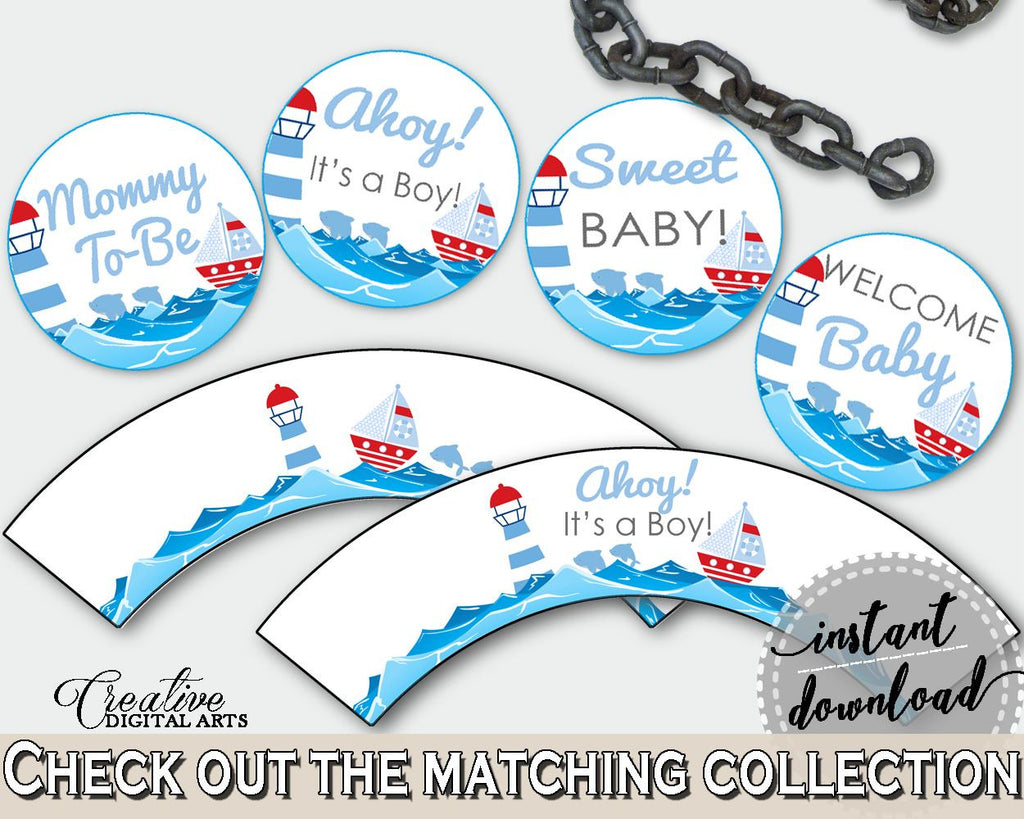 Cupcake Toppers And Wrappers Baby Shower Cupcake Toppers And Wrappers Nautical Baby Shower Cupcake Toppers And Wrappers Baby Shower DHTQT - Digital Product