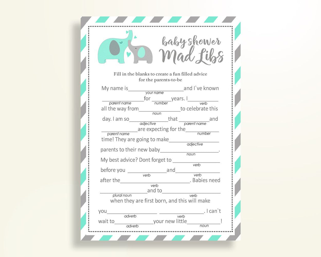 Mad Libs Baby Shower Mad Libs Turquoise Baby Shower Mad Libs Baby Shower Elephant Mad Libs Green Gray party organising party ideas 5DMNH - Digital Product