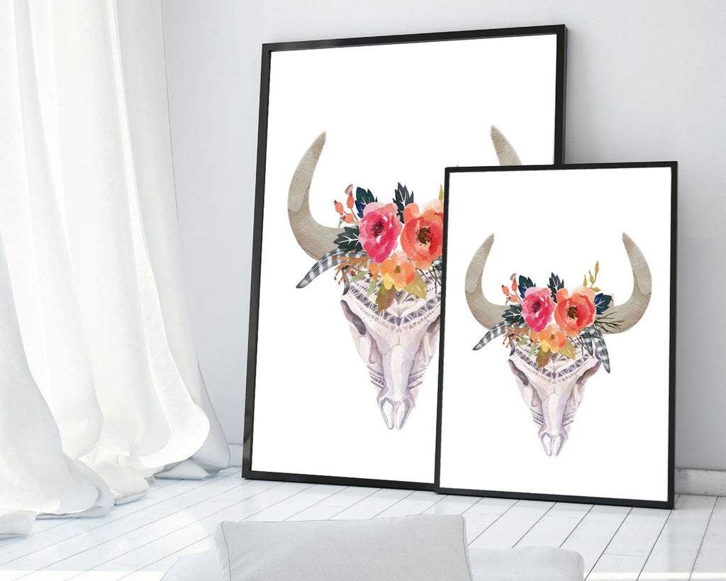 Skull Prints Wall Art Bull Digital Download Skull  Instant Download Bull Frame And Canvas Available watercolor skull flowers skull cow skull - Digital Download