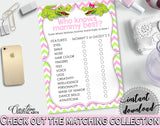 WHO KNOWS MOMMY BEST baby shower game with green alligator and pink color theme, instant download - ap001