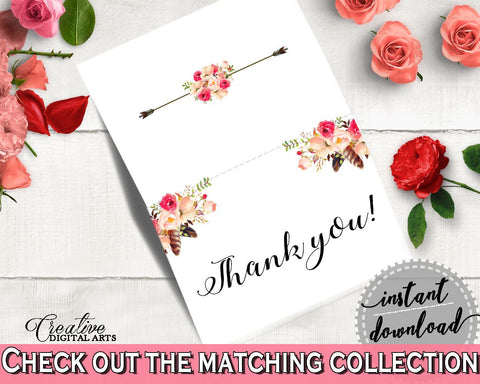 Pink And Red Bohemian Flowers Bridal Shower Theme: Thank You Card - appreciation, watercolor boho, printable files, party theme - 06D7T - Digital Product