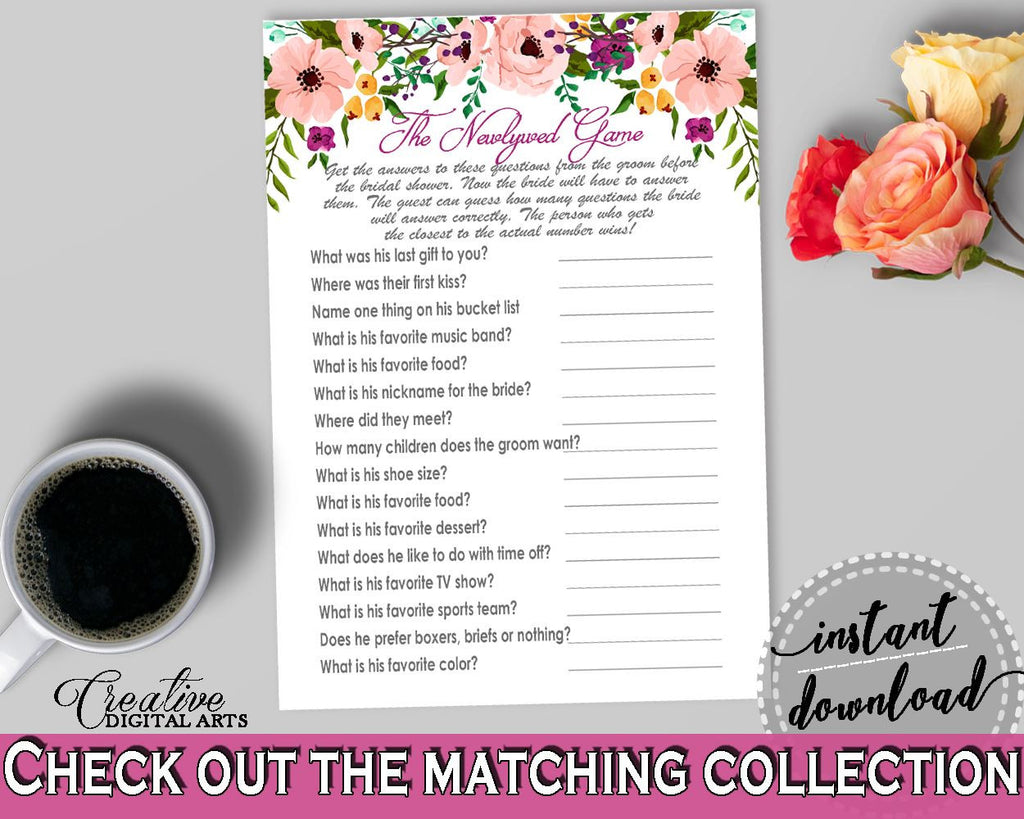 Watercolor Flowers Bridal Shower The Newlywed Game in White And Pink ...
