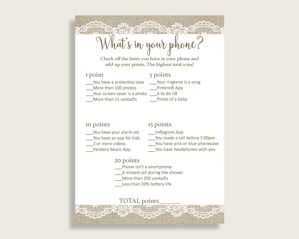 What's In Your Phone Bridal Shower What's In Your Phone Burlap And Lace Bridal Shower What's In Your Phone Bridal Shower Burlap And NR0BX