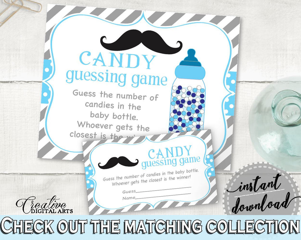 Candy Guessing Game, Baby Shower Candy Guessing Game, Mustache Baby Shower Candy Guessing Game, Baby Shower Mustache Candy Guessing 9P2QW - Digital Product