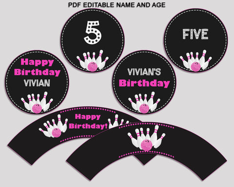 Bowling Birthday Cupcake Toppers, Bowling Birthday Cupcake Wrappers, Editable Pink Black Toppers Wrappers Girl, Digital Download, WYP5V