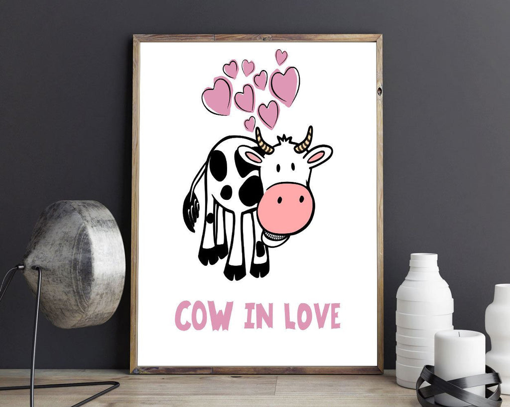 Love Prints Wall Art Cow Digital Download Love Living Room Art Cow Living Room Print Love Instant Download Cow Frame And Canvas Available - Digital Download