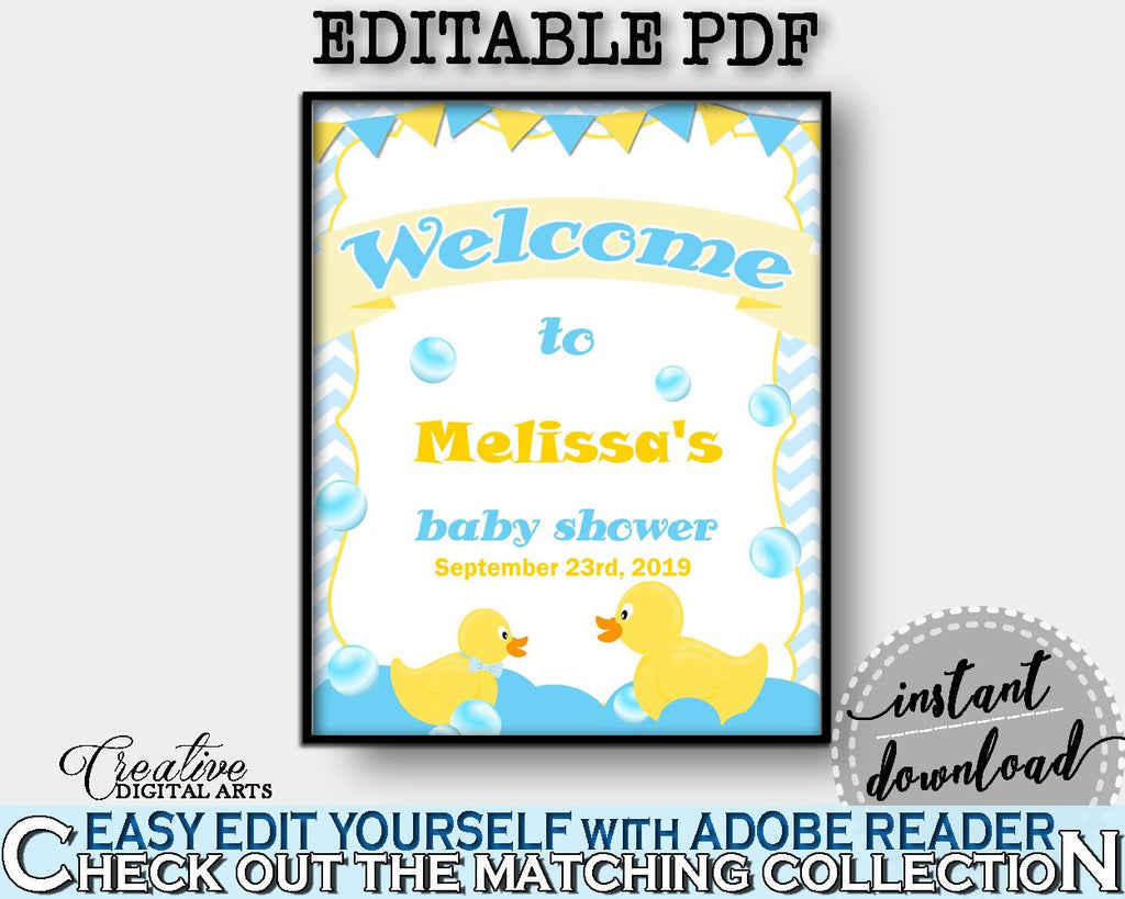 Baby Shower Ducks Shower Mint Theme Personalized Sign Editable Greetings WELCOME SIGN, Shower Activity, Shower Celebration - rd002 - Digital Product